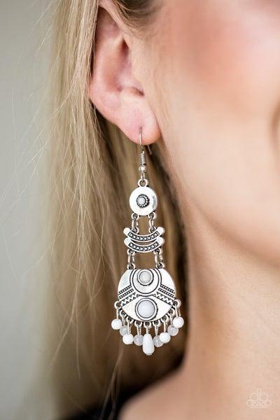 Tropic Tribe White Earrings