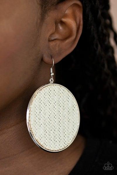 Wonderfully Woven White Earrings