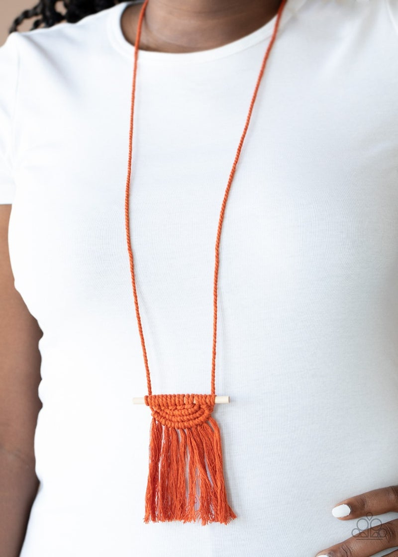 Between You and Macrame Orange Necklace