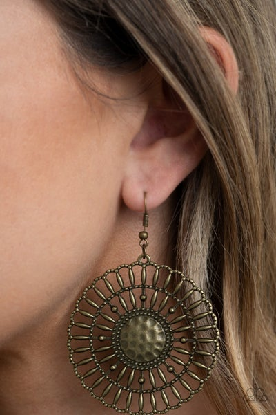 Rustic Groves Brass Earrings