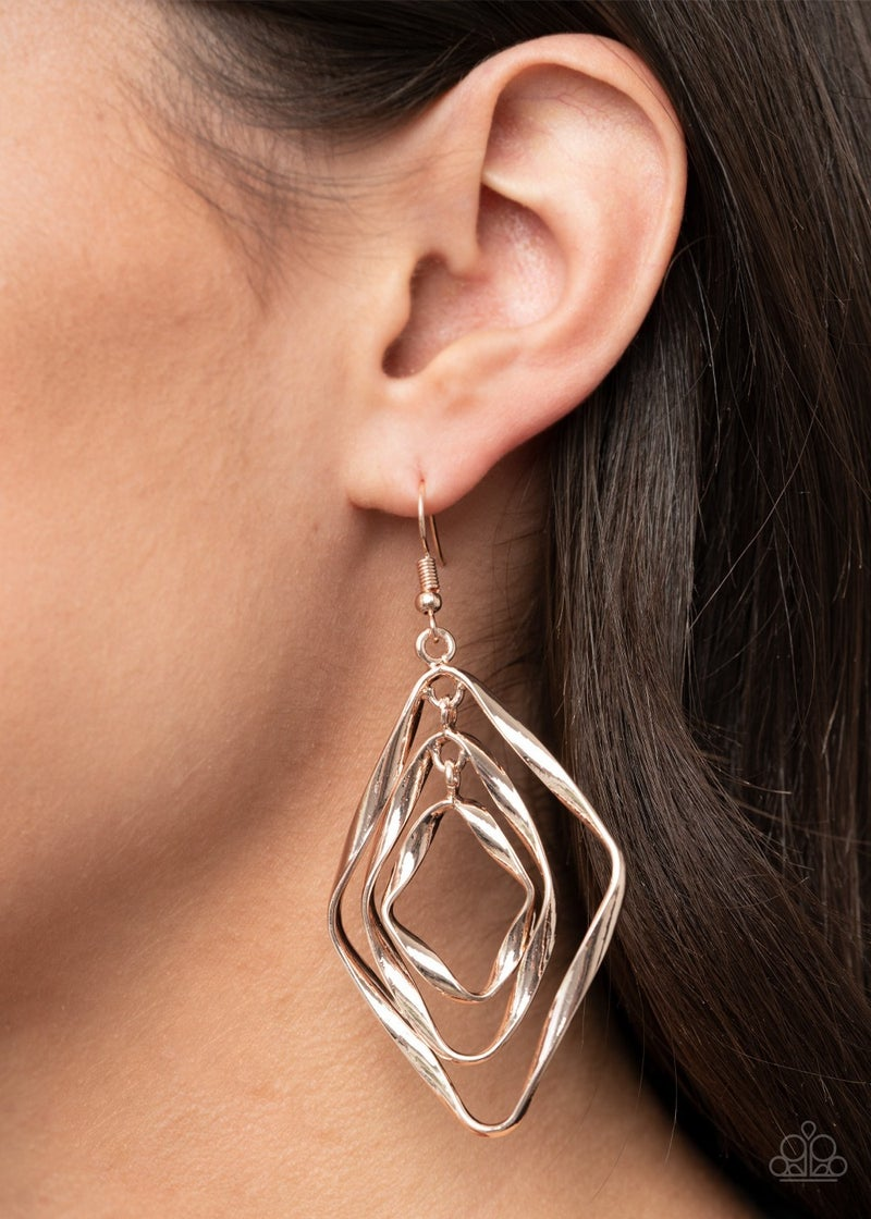 Retro Resplendence Rose Gold Earrings