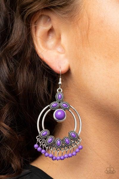 Palm Breeze Purple Earrings