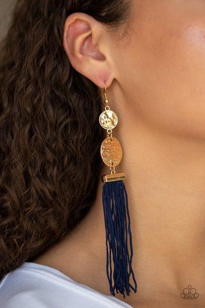 Lotus Gardens Blue Gold Earrings