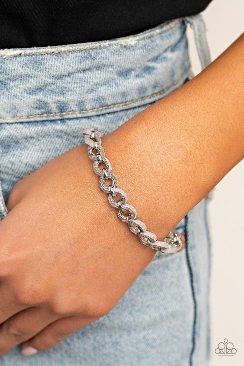 Suede Side To Side Silver Bracelet