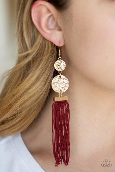 Lotus Gardens Red Gold Earrings