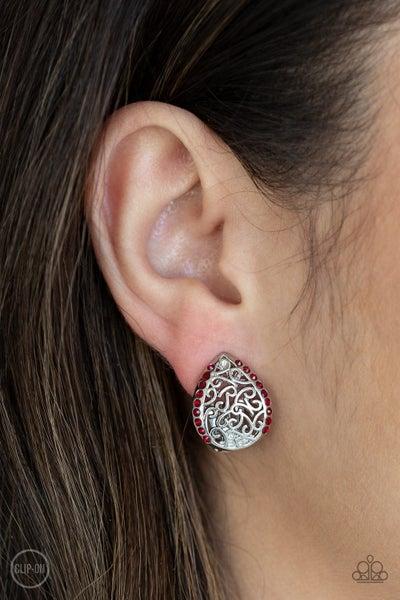 Garden Date Red Clip-On Earrings