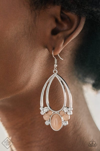 Look Into My Crystal Ball Peach Earrings
