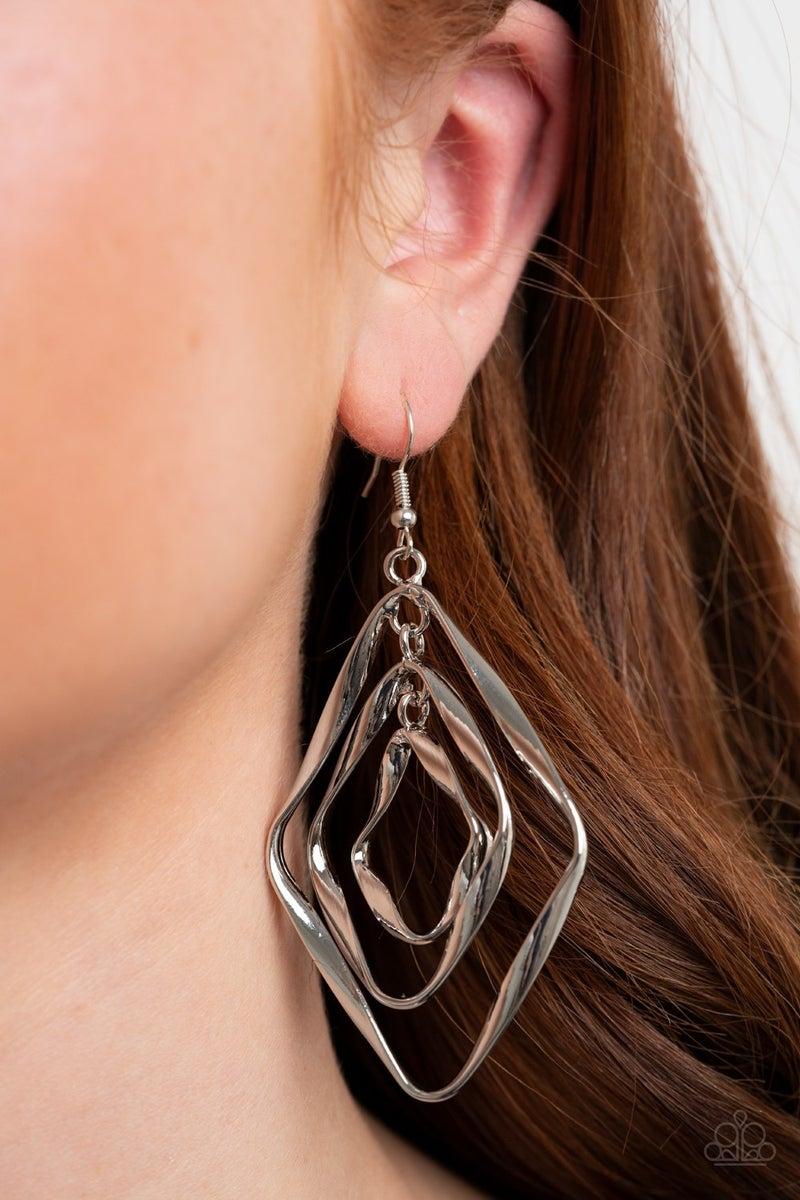 Retro Resplendence Silver Earrings
