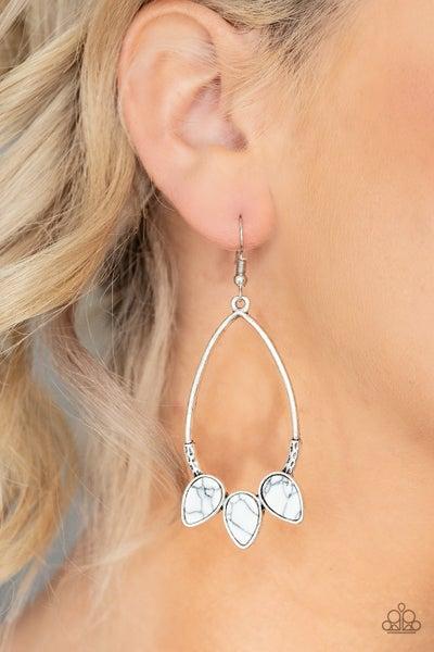 Fierce Frontier White Earrings