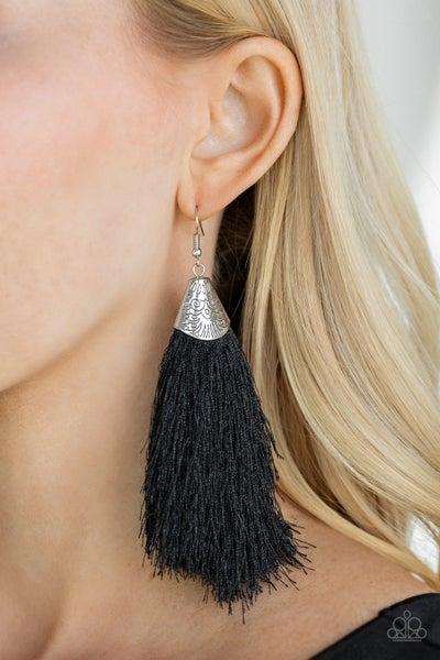 Tassel Temptress Black Earrings