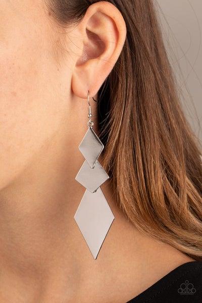 Danger Ahead Silver Earrings