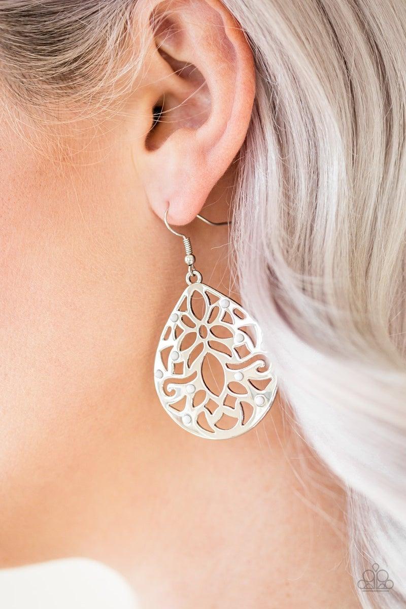 Casually Coachella White Earrings
