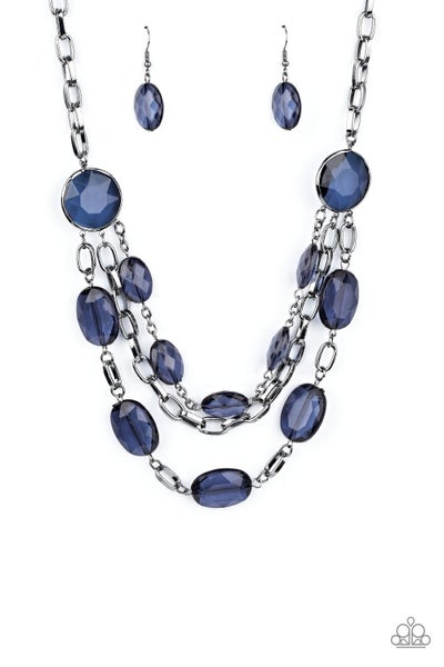 I Need A GLOW-cation Blue Gunmetal Necklace