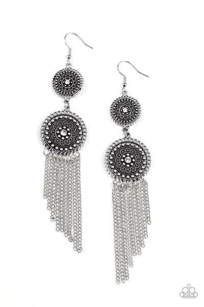 Medallion Mecca White Earrings