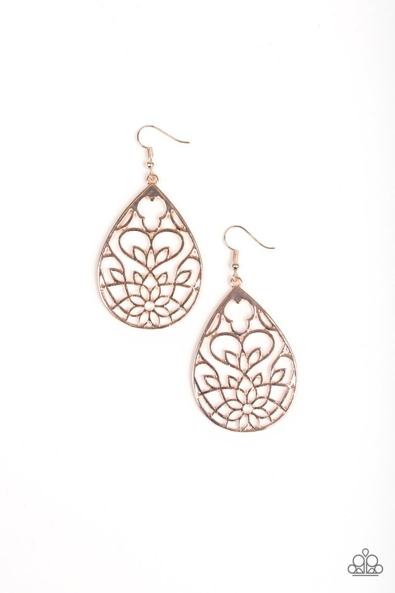 Lovely Lotus Rose Gold Earrings