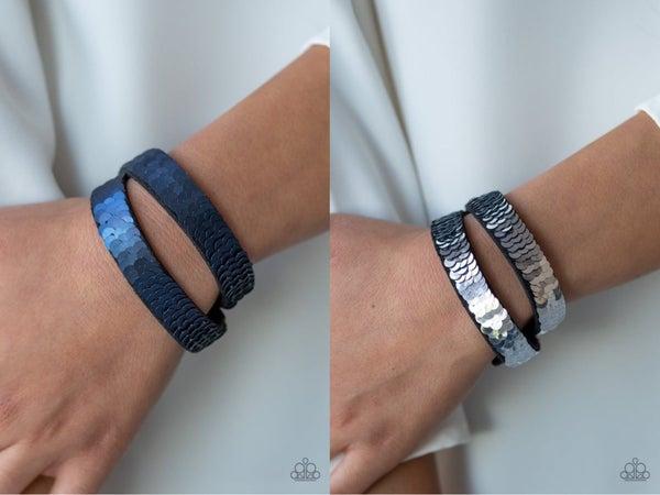 Under The Sequins Blue Silver Bracelet