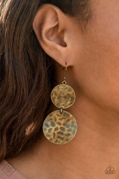 Hardware-Headed Brass Earrings