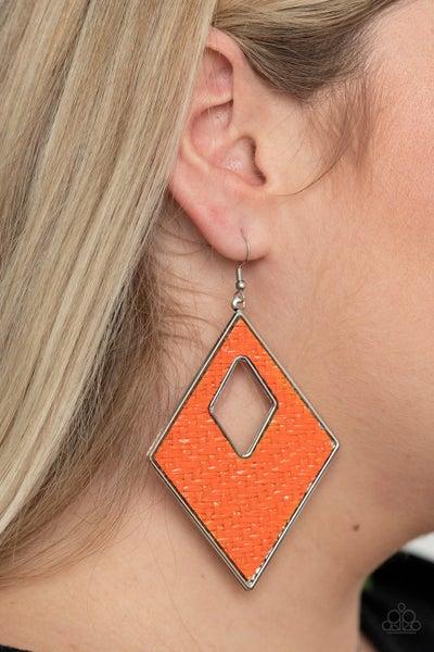 Woven Wanderer Orange Earrings