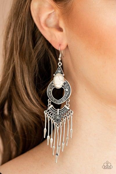 Southern Spearhead White Earrings