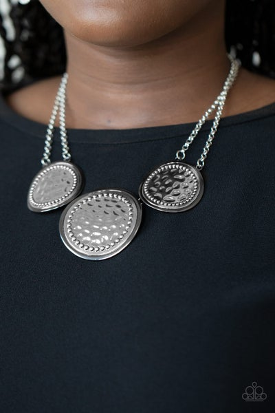 Gladiator Glam Silver Gunmetal Necklace