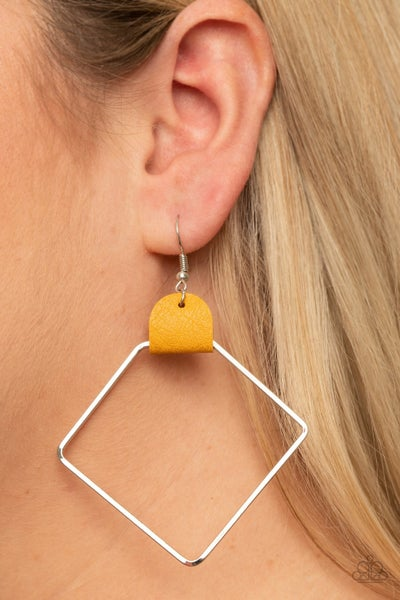 Friends Of A Leather Yellow Earrings