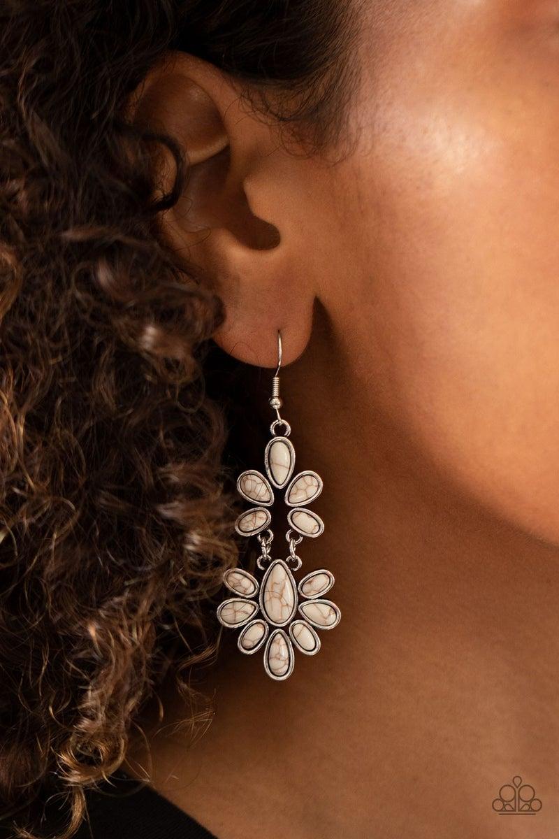 Cactus Cruise White Earrings