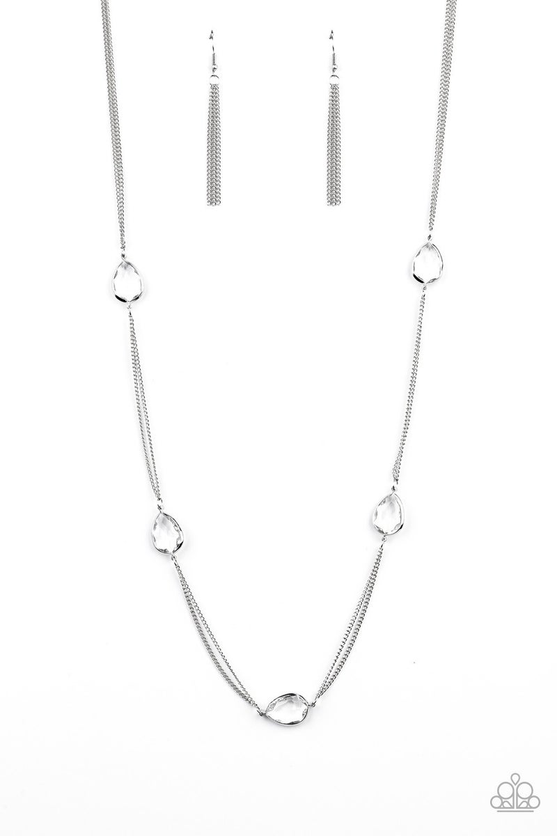Teardrop Timelessness White Necklace