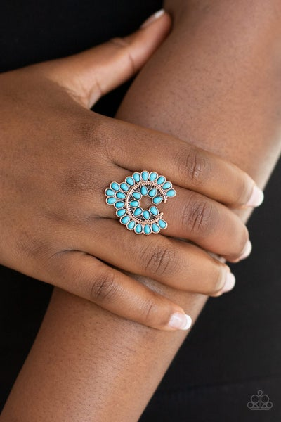Trendy Talisman Turquoise Copper Ring