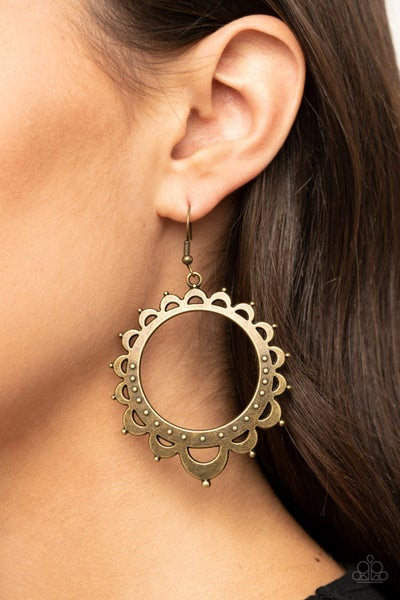Casually Capricious Brass Earrings