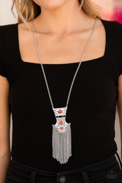 Totem Tassel Orange Necklace