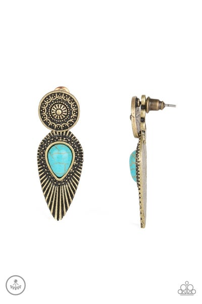 Fly Into The Sun Turquoise Brass Double Posts