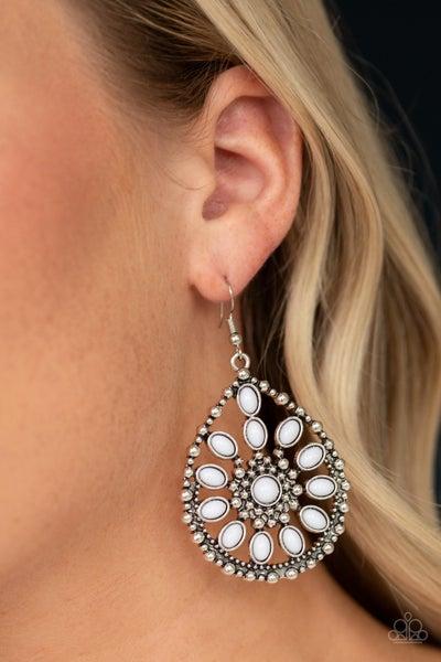 Free To Roam White Earrings