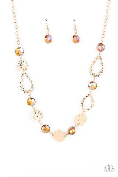 High Fashion Fashionista Brown Gold Necklace