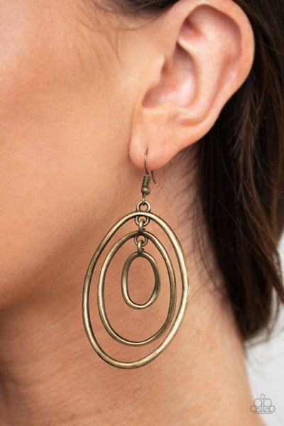 Retro Ruins Brass Earrings