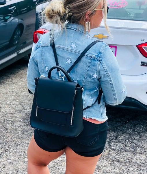 black bookbag purse
