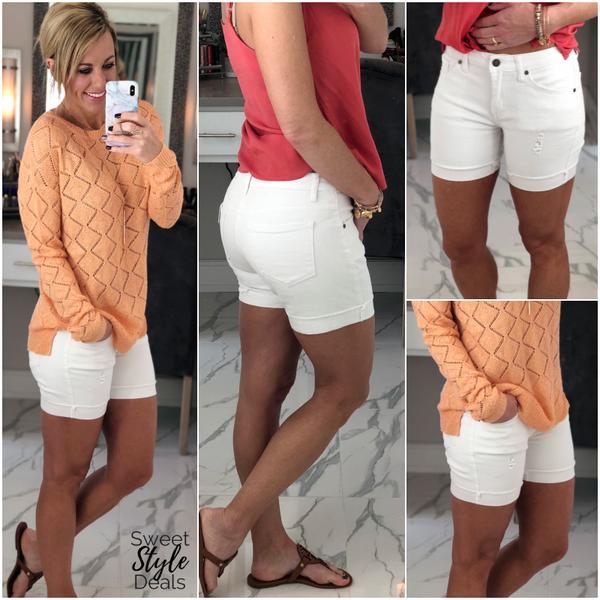 Kancan White Distressed Shorts
