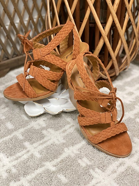 Rust Braided-Lace Up Heels *Final Sale*