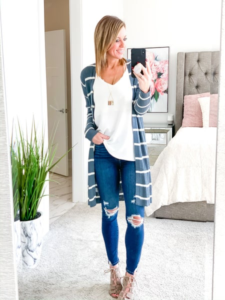 A Little Extra Striped Cardi