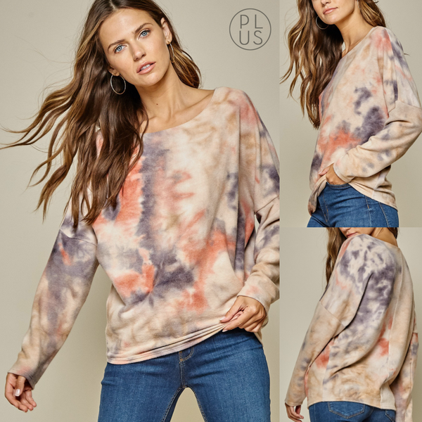 PLUS- Soft Swirl Dye Top