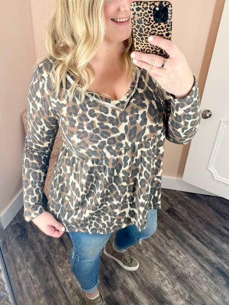 leopard v neck babydoll top