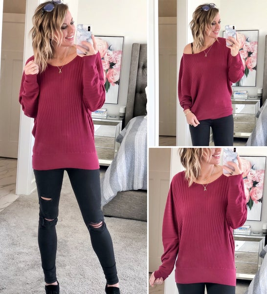 Cabernet Ribbed Sweater