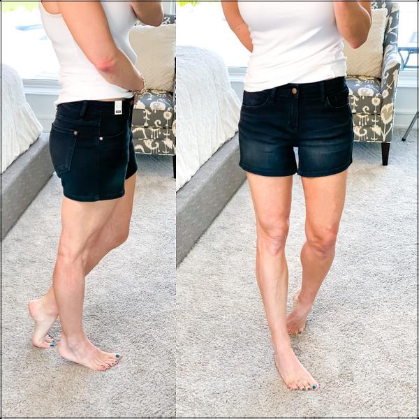 black denim shorts