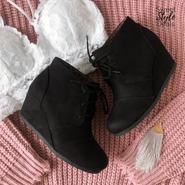 February Collection Black Lace Up Wedges *Final Sale*