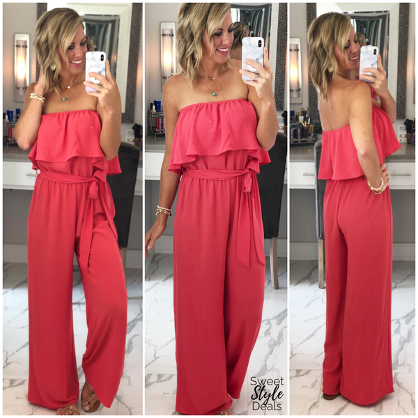 Coral Ruffle Jumpsuit (July Collection) *Final Sale*