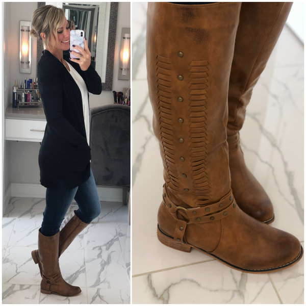 Tan Leather Braid Boots (Oct. Collection)