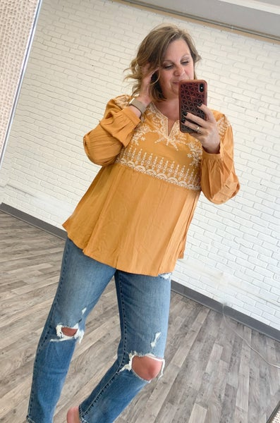 Marigold Embroidered Top