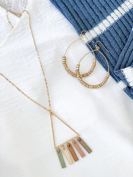 gold triangle w/ wood tassel necklace