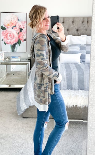 Camo Hooded Cardigan