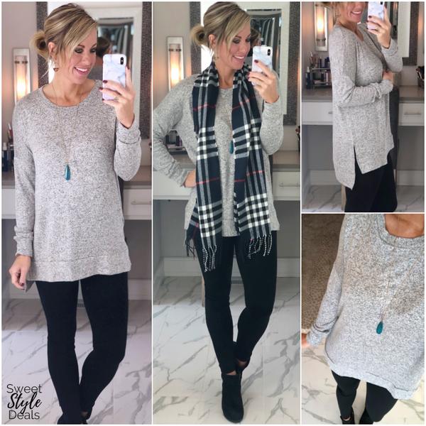 Grey Brushed Round Neck HiLow Hem Sweater *Final Sale*