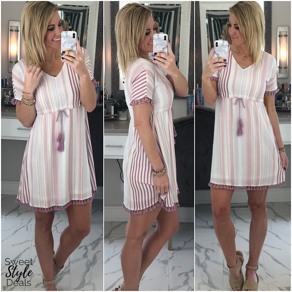 Lavender Stripe Dress/Cover Up (FINAL SALE) *Final Sale*